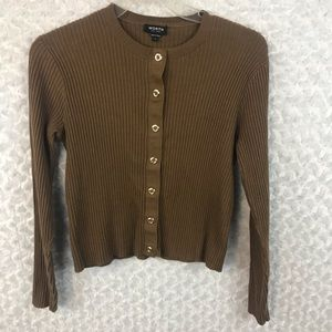 Worth Brown Ribbed Snap Button Cardigan